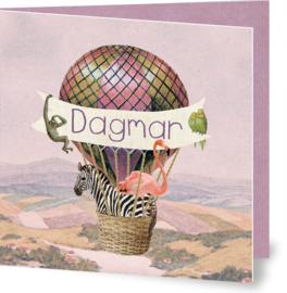 Geboortekaartje Dagmar | luchtballon met dieren meisje