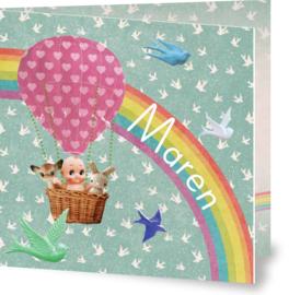 Geboortekaartje Maren | roze luchtballon en regenboog