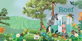 Geboortekaartje Roef | retro blauwe caravan dieren