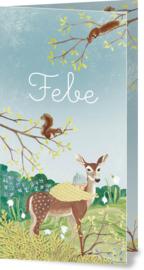 Geboortekaartje Febe | Hert met kindje in lentelandschap