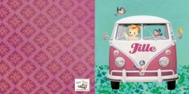 Geboortekaartje Jille | roze volkswagenbusje