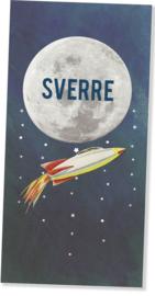 Geboortekaartje Sverre | raket maan langwerpig