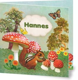Geboortekaartje Hannes | eekhoorn paddestoel  herfst
