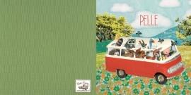 Geboortekaartje Pelle rood busje met dieren