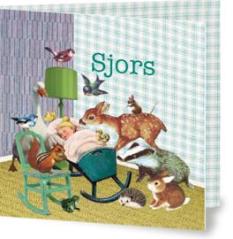Geboortekaartje Sjors | wieg met dieren jongen