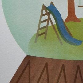 Poster Sneeuwbol speeltuin  30x40 cm