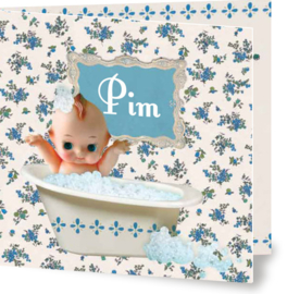 Geboortekaartje Pim | jongen in bad