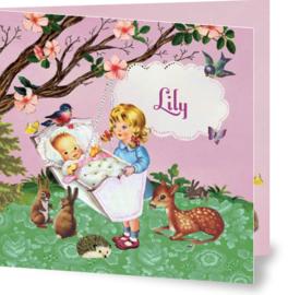 Geboortekaartje Lily | zusjes wiegje