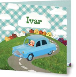 Geboortekaartje Ivar | speelgoedauto