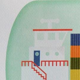 Poster Schip in fles  30x40 cm