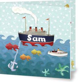 Geboortekaartje Sam | boot op zee