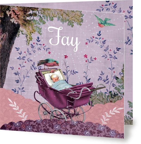 Geboortekaartje Fay | kinderwagen onder boom meisje