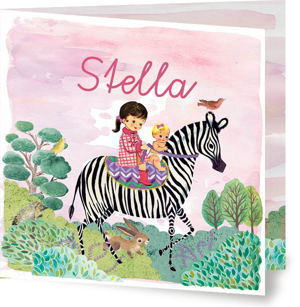 Geboortekaartje Stella | tweede kindje zebra meisje