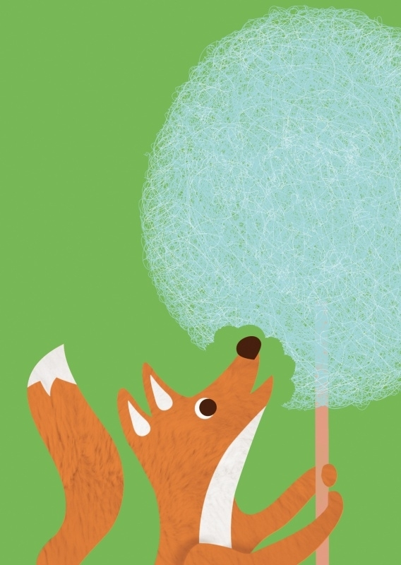 Postcard Fox cottoncandy