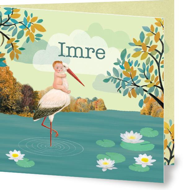 Geboortekaartje Imre | kindje met ooievaar groen