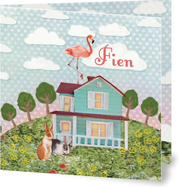 Geboortekaartje Fien | flamingo op huis