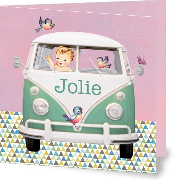 Geboortekaartje Jolie | pastel volkswagenbusje