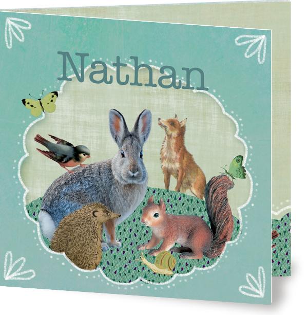 Geboortekaartje Nathan | bosdieren in kader mint