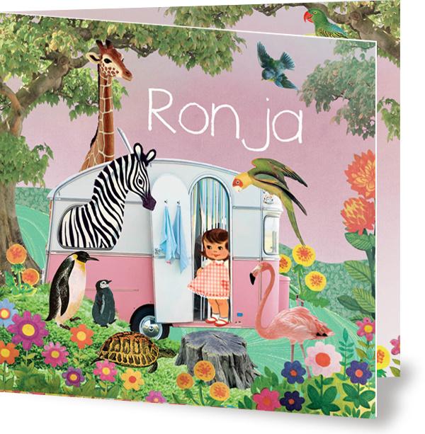 Geboortekaartje Ronja | retro roze caravan dieren
