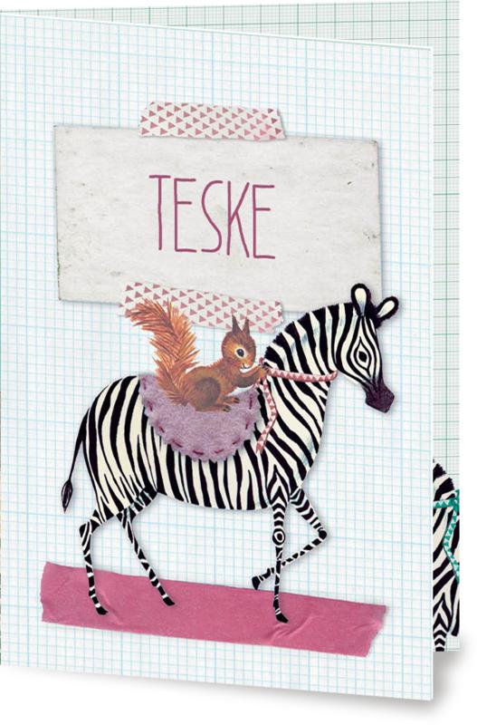 Geboortekaartje Teske | zebra met eekhoorn meisje