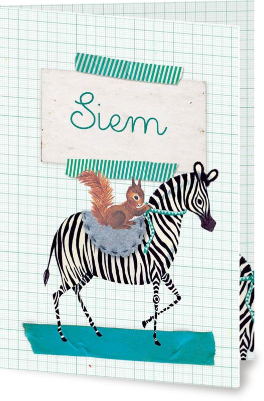 Geboortekaartje Siem | zebra met eekhoorn jongen
