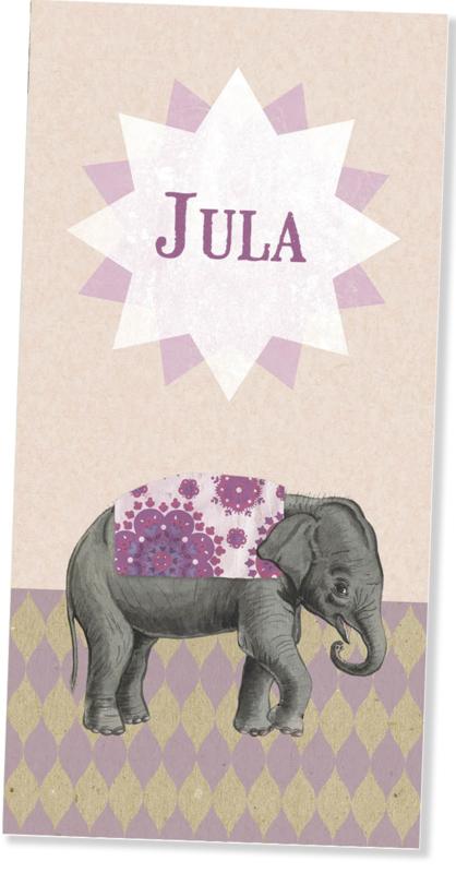 Geboortekaartje Jula | retro olifantje roze