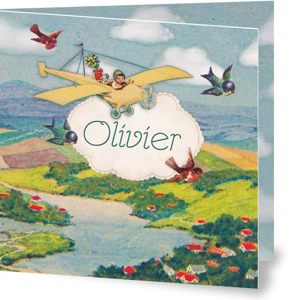 Geboortekaartje Olivier | vliegtuigje met vogeltjes