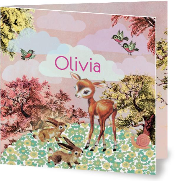 Geboortekaartje Olivia | hertje konijntjes meisje