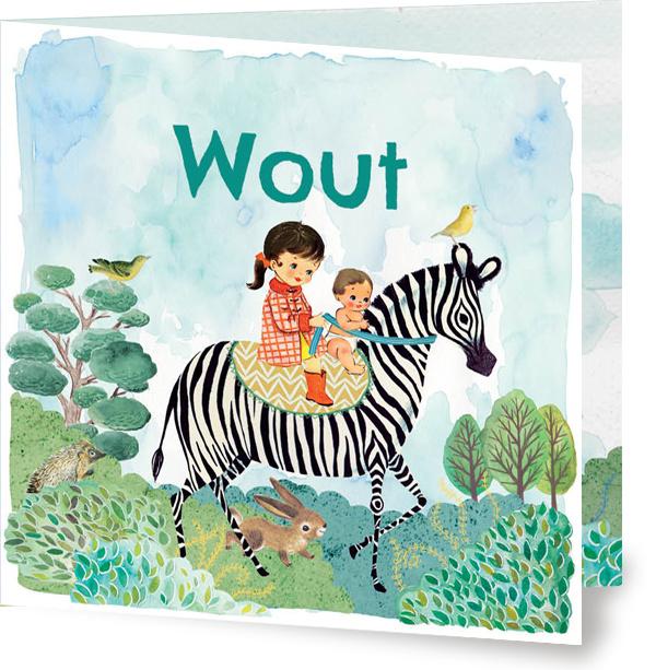 Geboortekaartje Wout | tweede kindje zebra jongen