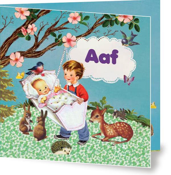 Geboortekaartje Aaf   zusje broer wiegje