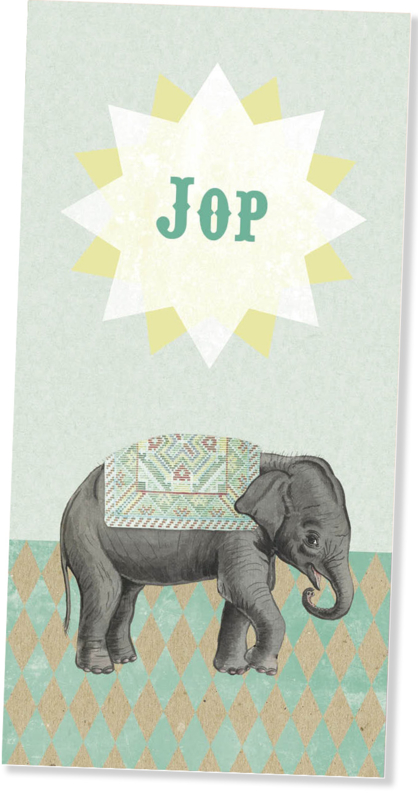 Geboortekaartje Jop | retro olifantje mint
