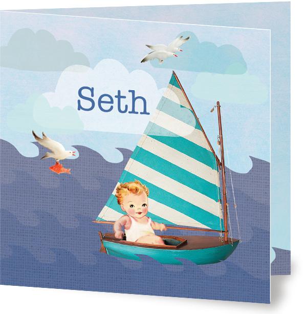 Geboortekaartje Seth | zeilboot jongen
