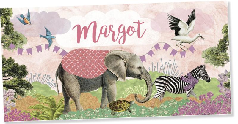 Geboortekaartje Margot | dierenparade meisje