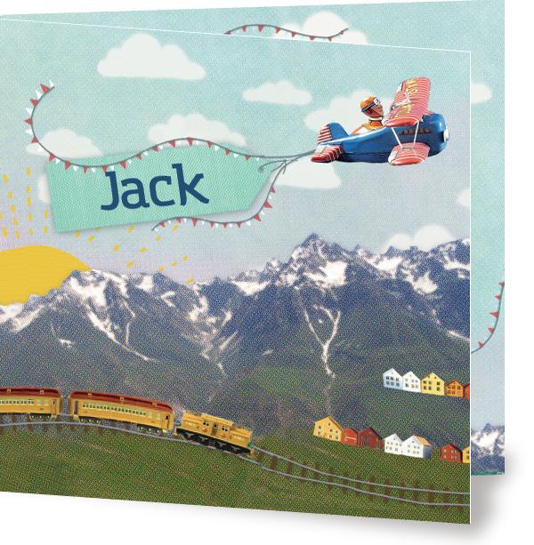 Geboortekaartje Jack | vliegtuig bergen slingers