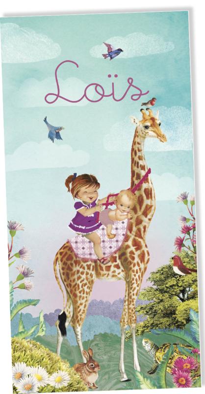 Geboortekaartje Lois | 2e kind giraffe meisje