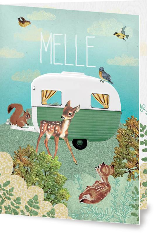 Geboortekaartje Melle | retro caravan groen