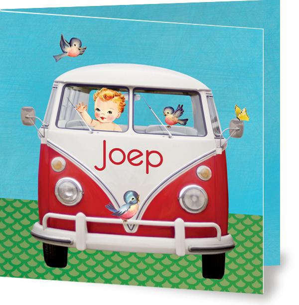 Geboortekaartje Joep | rood volkswagenbusje