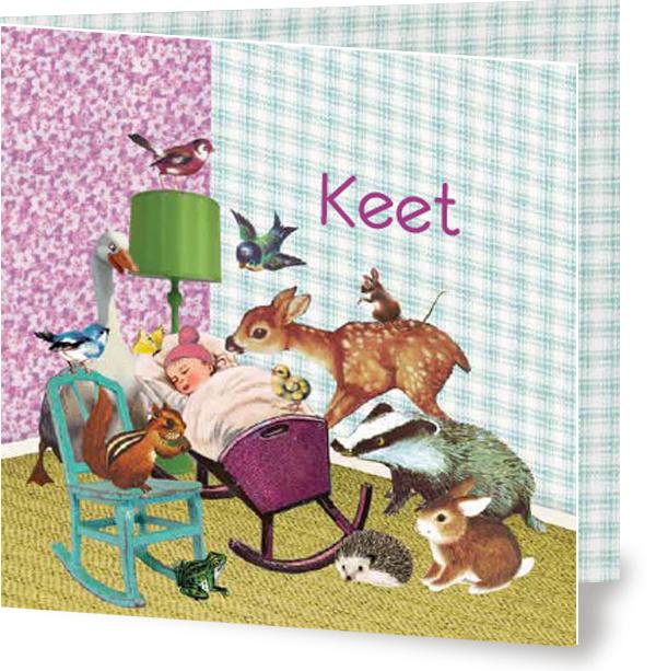 Geboortekaartje Keet | wieg met dieren meisje