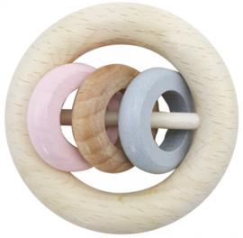 Houten Rammelaar met 3 ringen  (naturel/roze)