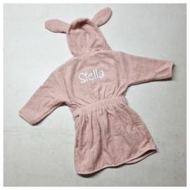 Jollein Badjas Badstof - 1 tot 2 jaar - Pale Pink | Baby Badjas met naam bedrukt