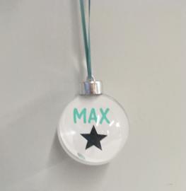 Kerstbal met naam  -  Mint/zwart/grijs
