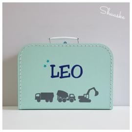 Kinderkoffertje met naam en voertuigen