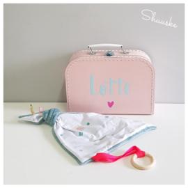 Kraampakket Pastel Roze klein | Kraamcadeau pakket met naam | Voordeelpakket