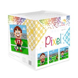 Pixelhobby kubus met 3 schilderijtjes - Voetbal