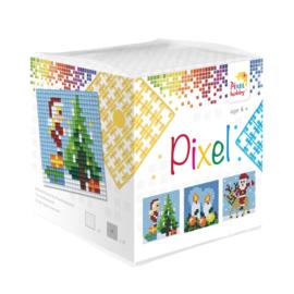 Pixelhobby kubus met 3 schilderijtjes - Kerst