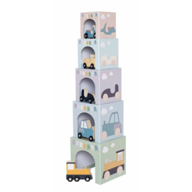 Stapeltoren met houten voertuigen (10delig) | Stapelblokken