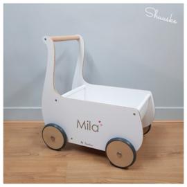 Witte loopwagen | Poppenwagen met naam | Pinolino Mette Wit