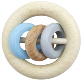 Houten Rammelaar met 3 ringen (naturel/blauw)