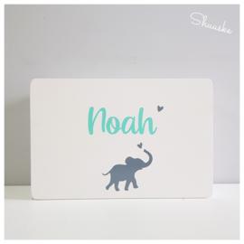 Houten Geboortekist | Herinneringen kist met naam en Olifantje | Herinneringskist klein Elephantastic
