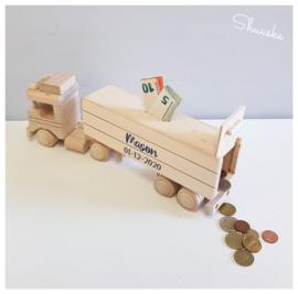 Houten Spaarpot met naam | Spaarpot Vrachtwagen